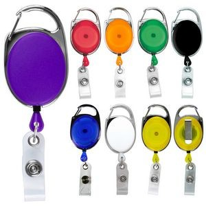 """Oberlin"" Retractable Carabiner Style Badge Reel & Badge Holder (Blank)"